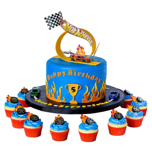 hot wheels cake and cupcakes 2 7