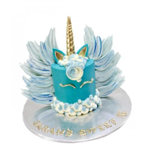 blue unicorn cake with chocolate wings 7
