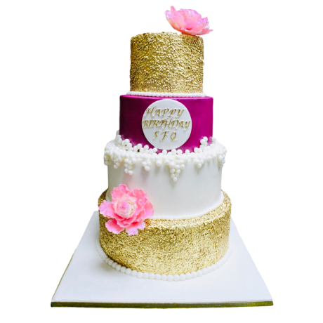gold sequins pink and white cake 6