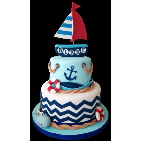 nautical sea boat theme cake 12