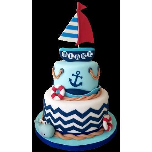 nautical sea boat theme cake 13