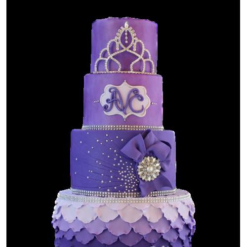 Purple cake with princess crown