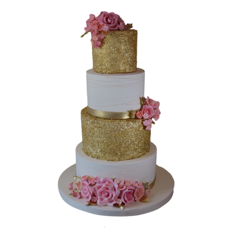 gold and pink cake 3 6