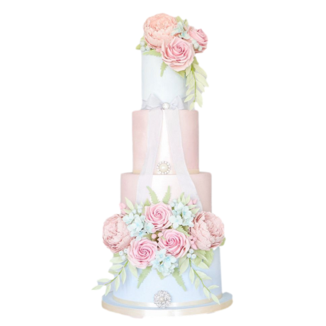 amazing flowers cake in pink and white 6