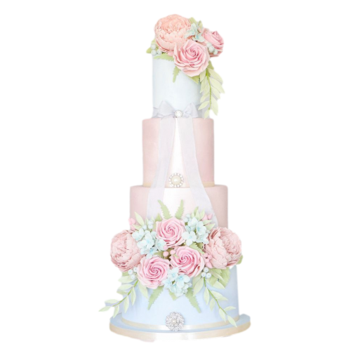 amazing flowers cake in pink and white 7