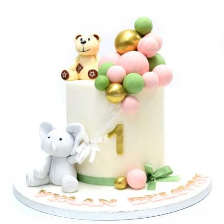 teddy bear and elephant cake 6
