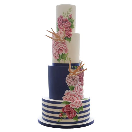 birds and flowers cake 6