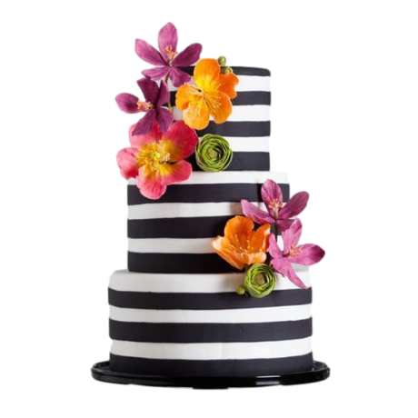 elegant black and white stripes cake 6