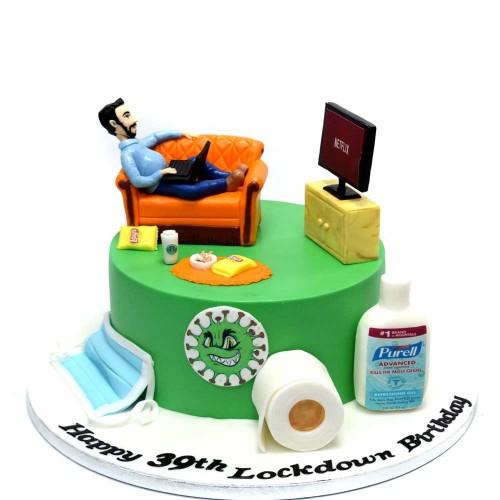 sofa and netflix cake lockdown cake 7