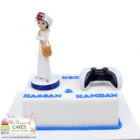 arabic boy and ps 5 controller cake 6