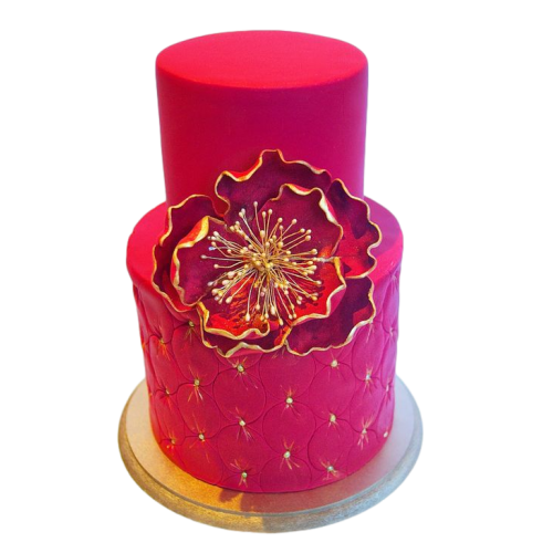 gold and bright pink cake with flowers 13