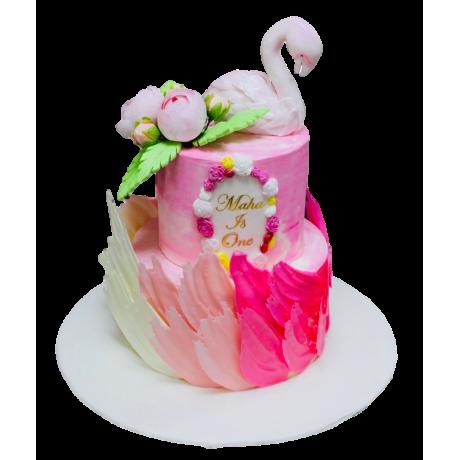 flamingo and brushstrokes tropical cake 6