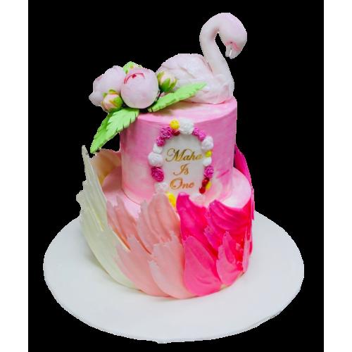 flamingo and brushstrokes tropical cake 7