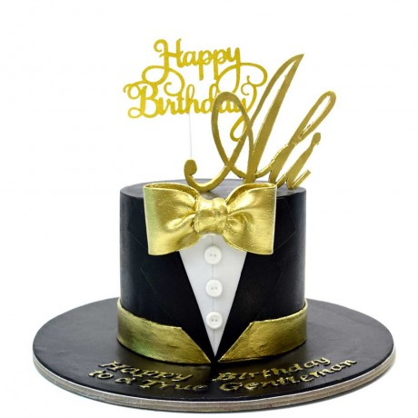 60th gold bow tie cake 6