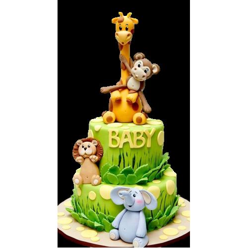 cute jungle animals cake 7