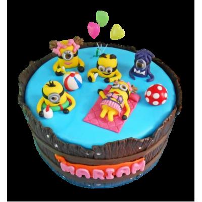 Minions in pool cake