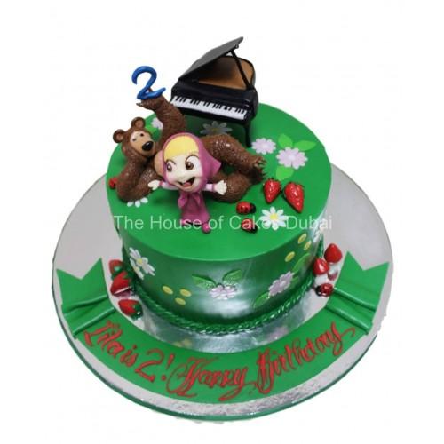 masha and the bear cake 3 plus piano 7