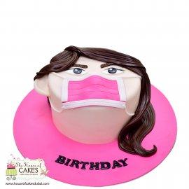 Face with mask coronavirus theme cake 2