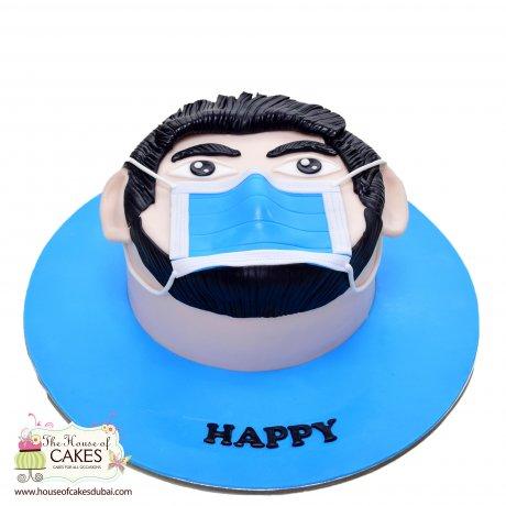face with mask coronavirus theme cake 1 6