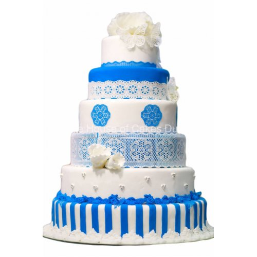 blue and white cake with lace 7
