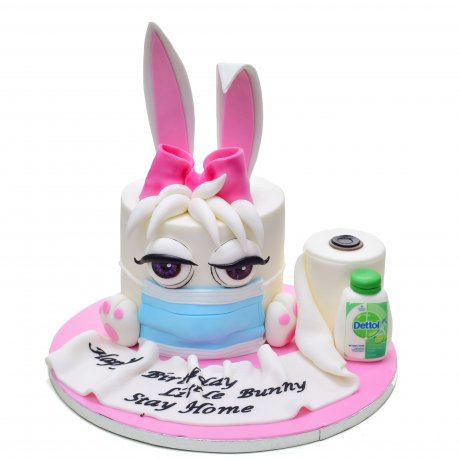 Cute bunny cake with mask