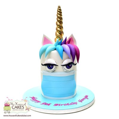 Corona themed unicorn cake