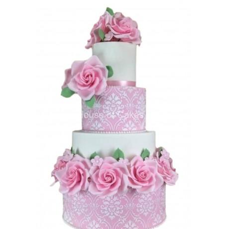 damask and pink roses cake 6