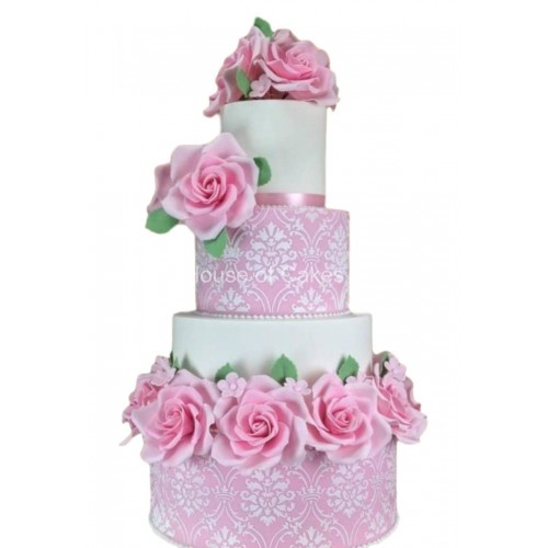 damask and pink roses cake 7