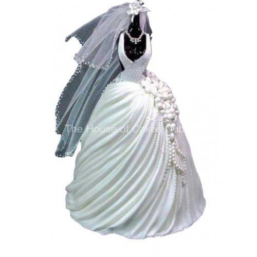 Bridal dress cake 10