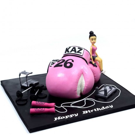 boxing glove, lady and fitness cake 12