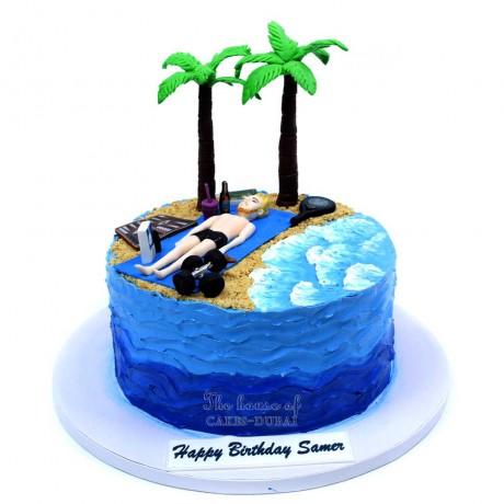 men on the beach cake 6
