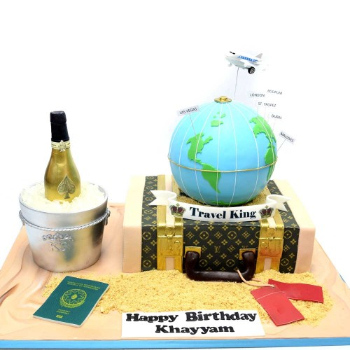louis vuitton suitcase, champagne and globe cake 7