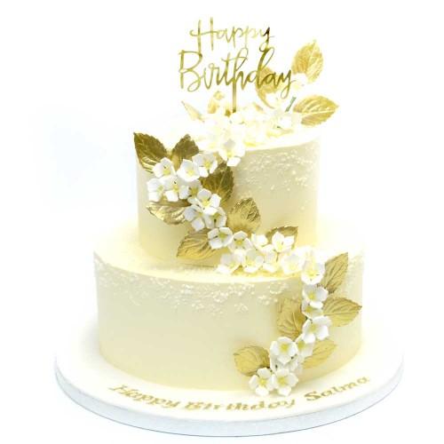 white and gold birthday cake 13