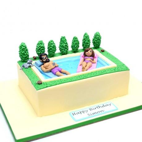 swimming pool relax cake 6