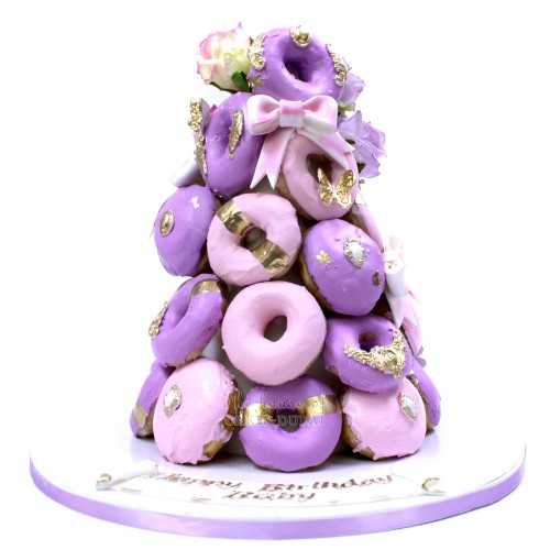 Pink and Purple Doughnut Tower