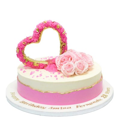 Pink Crystal heart cake 2