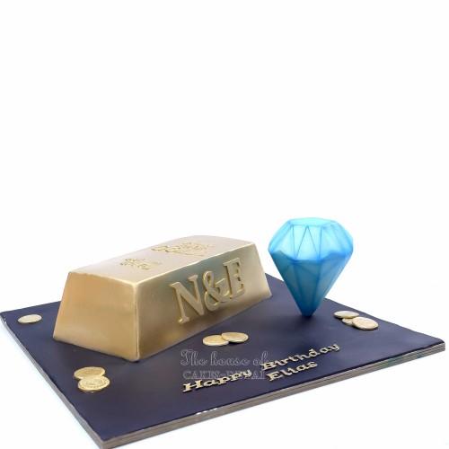 gold bar and diamond cake 13