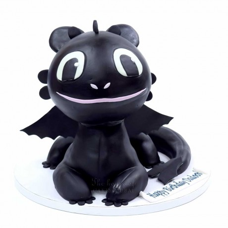 how to train your dragon cake - toothless cake 3d 6