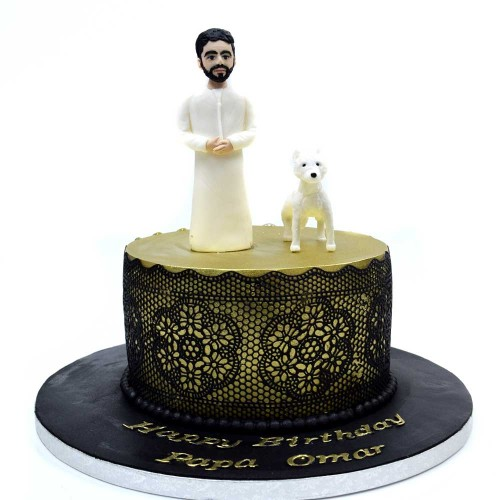 men with his dog cake 13