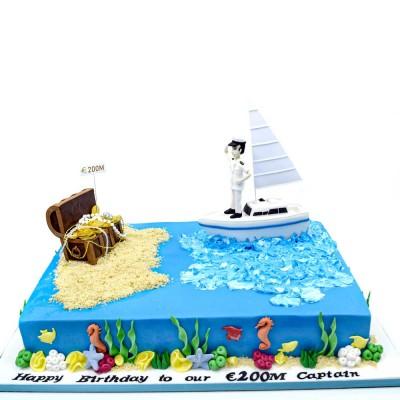 Yacht and treasure cake