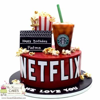 Netflix and Starbucks cake