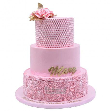 pink cake with ruffles 12