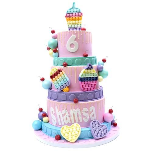 Pop it fidget theme cake