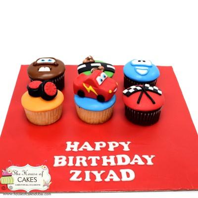 Set of 6 Disney cars cupcakes
