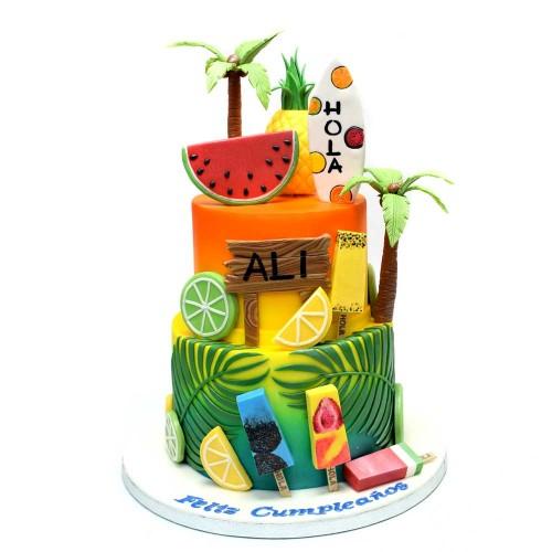 tropical theme cake 3 13
