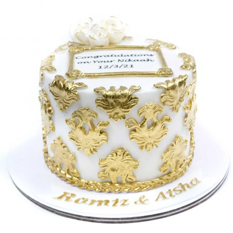 white and gold cake 10 12
