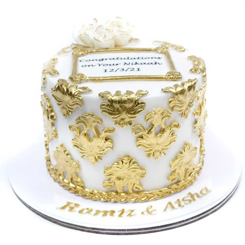 white and gold cake 10 13