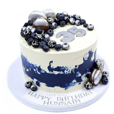 Blue white and silver cake