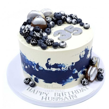 blue white and silver cake 6