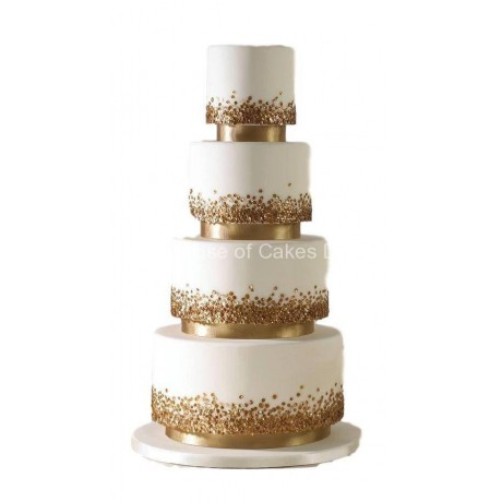Elegant white cake with gold sequins